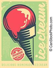 Ice cream retro poster