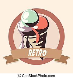 ice cream retro shopping vintage label