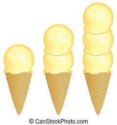 Ice cream scoops - One, two or three scoop ice cream cone...