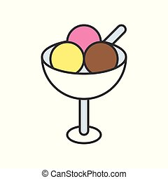 ice cream scoops, food and gastronomy set, filled outline icon