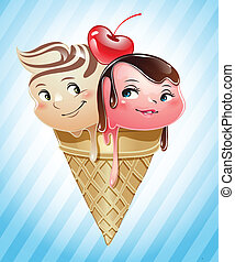 Ice cream scoops in a cone - Ice cream scoops in love inside...