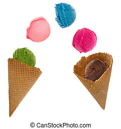 Ice cream scoops in motion