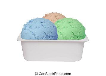 Ice cream scoops isolated on white