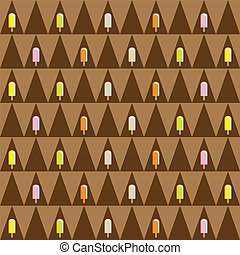 Ice cream seamless pattern - Ice cream and popsicle...