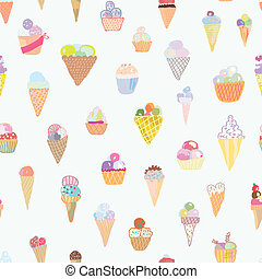 Ice cream seamless pattern funny design - hand drawn set
