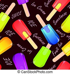 Seamless pattern of fruity ice cream on stick, frozen ice juice vector with signatures