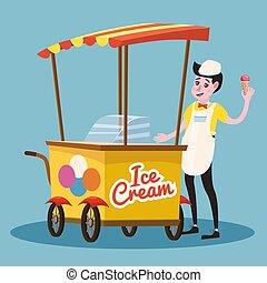 Ice cream seller, cart, vector, illustration, cartoon style, isolated