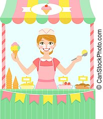 Ice cream seller - happy young woman selling ice cream in a ...