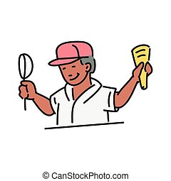 Ice-cream seller or vendor character with corn vector illustration isolated.