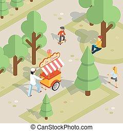 Ice cream seller rolls trolley through the park