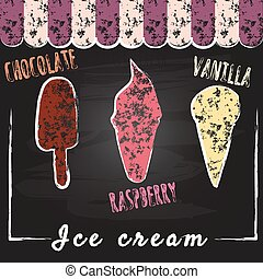 Ice cream set. Chalk on backboard. Popsicles and cones, decoration and colors. Vector, isolated