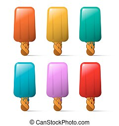 Ice Cream Set. Colorful Ice Milk Collection Isolated on White Background.