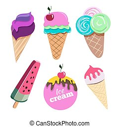 Ice cream set illustration - Set of colorful ice creams with...