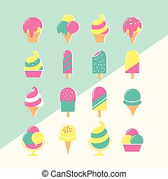 Ice cream set of icons in pastel colors