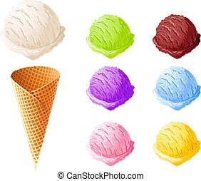 Ice cream. Set of summer sweetness.