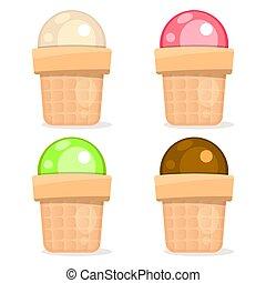 Ice Cream Set On White Background Vector Illustration