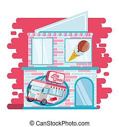 ice cream shop facade with car