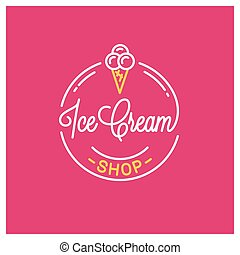 Ice cream shop logo. Round linear logo of icecream