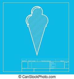 Ice Cream sign. White section of icon on blueprint template.