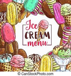Ice cream sketch frame for cafe menu cover design