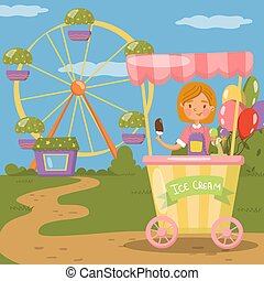 Ice cream stall, amusement park concept vector illustration,
