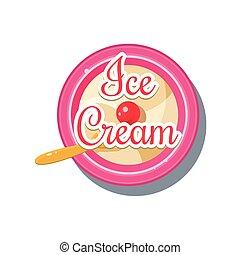 Ice Cream Sticker. Vector Illustration