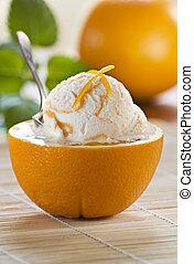 Ice cream - Fresh orange ice cream close up shoot