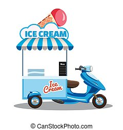 Ice cream street food cart, scooter, moped, truck, with fresh Cones, Sticks, Buckets, Sherbet, Rolled Ice Cream, Soft Serve, Frozen Yogurt, Gelato, Kulfi, Sorbet, Faloodeh. Colorful illustration, cute, on white background. Cartoon style, vector, isolated