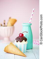 Ice cream sundae cupcake and milk