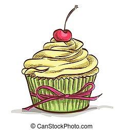 Ice cream sundae cupcake with cherry, excellent vector...
