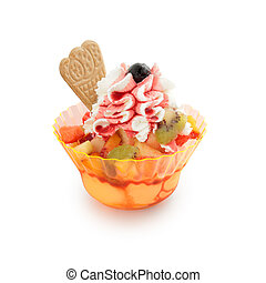 ice cream sundae on white background
