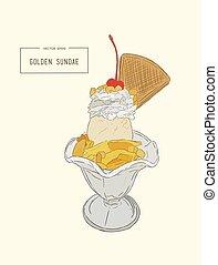 ice-cream sundae , sketch vector. - ice-cream sundae glass...