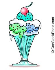 Ice Cream Sundae. WBG. - Cartoon of ice cream sundae in...