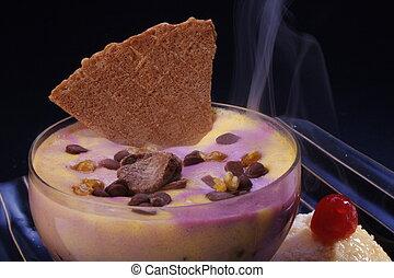 Ice cream sundae with waffle