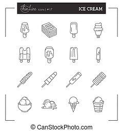 Ice Cream thin line icons set, flat design.