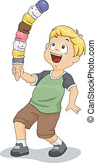 Illustration of a Boy Holding a Tower of Ice Cream