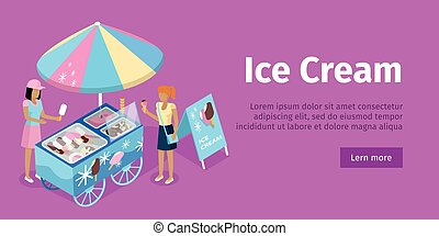 Ice Cream Trolley in Isometric Projection. Vector