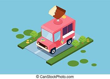 Ice Cream Truck 3d Isometric Design Vector Illustration