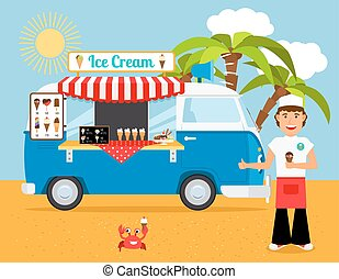 Ice cream truck vector illustration. Iceman and icecream van on sandy beach with palm trees