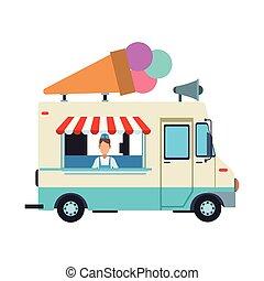 Ice cream truck and man vector illustration graphic design
