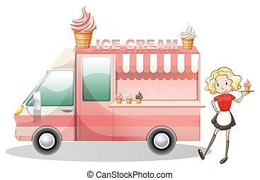 Ice cream truck and waitress illustration