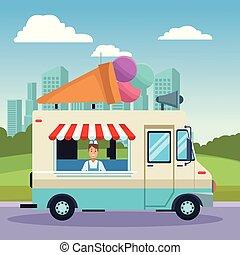 Ice cream truck at park cartoons vector illustration graphic design