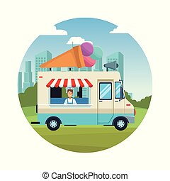 Ice cream truck at park round icon vector illustration graphic design