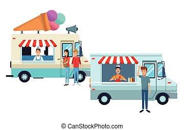 ice cream truck and fast food truck cartoon vector illustration graphic design