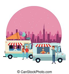 ice cream truck and fast food truck in front city landscape at night cartoon vector illustration graphic design