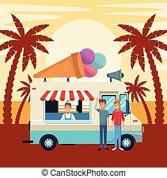 ice cream truck in front sunset landscape cartoon vector illustration graphic design