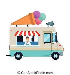 ice cream truck cartoon vector illustration graphic design