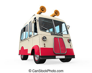 Ice Cream Truck isolated on white background. 3D render
