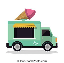 ice cream truck fast food delivery transportation creative icon. Colorfull illustration. Vector graphic