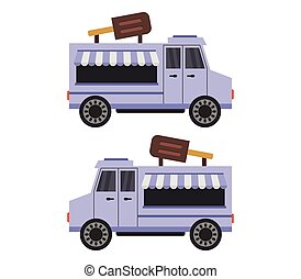 ice cream truck icon illustrated in vector on white background